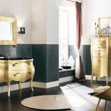 Дизайн интерьера ванной в золотом цвете -1