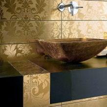 Дизайн интерьера ванной в золотом цвете -3