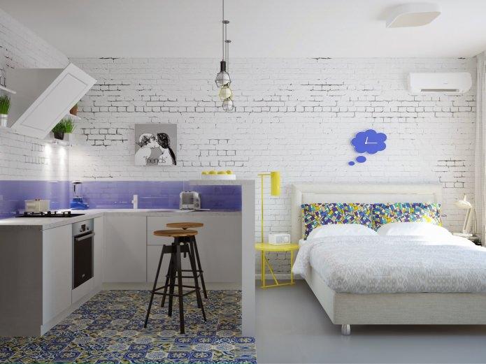 Современный дизайн квартиры-студии 24 кв. м.